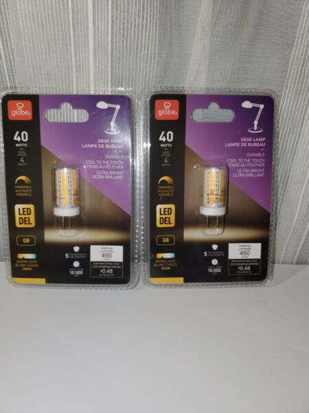 Globe Electric 40W Warm White 3000K G8 Dimmable LED Light Bulb PACK OF 2 $9.99