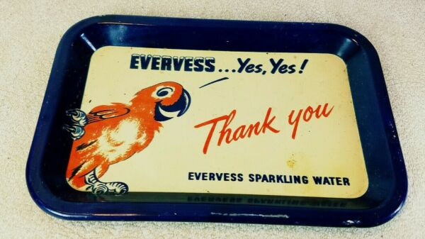 Vintage Metal Tip Tray Evervess Sparkling Water Yes Yes! Parrot Blue Red White