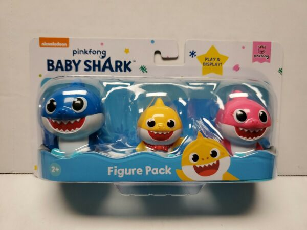New Sealed Baby Shark 3 Figure Pack Pinkfong Mommy Daddy Song 2020 Nickelodeon