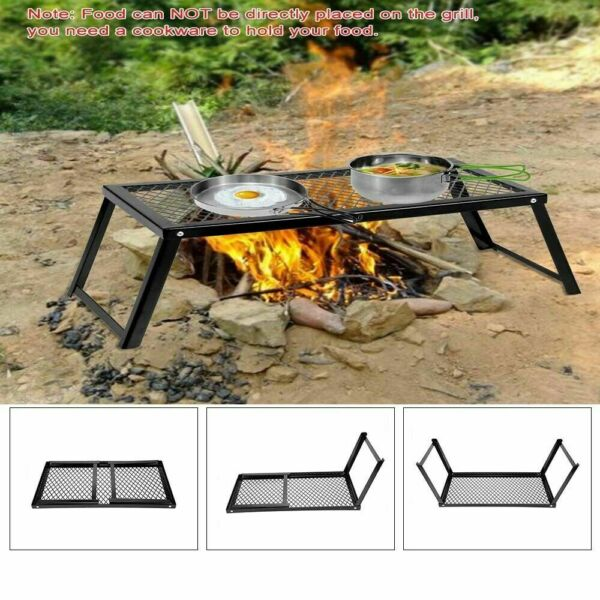 Camping Grill Adjustable Camp Fire Cooking Grate Outdoor BBQ Foldable V0N7