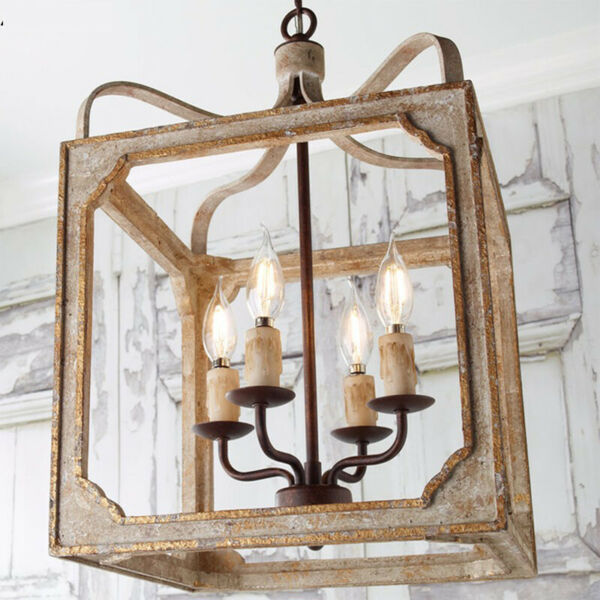French Country Metal and Wood Square Lantern Chandelier with 4 Light Home Decor