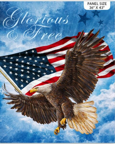 Patriotic Glorious amp; Free American Eagle Flag Cotton Fabric Northcott 36quot; Panel