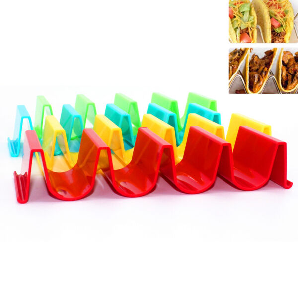 4pcs Colorful Wavy Shape Taco Holder Mexican Food Truck Quality Taco Rack $9.97