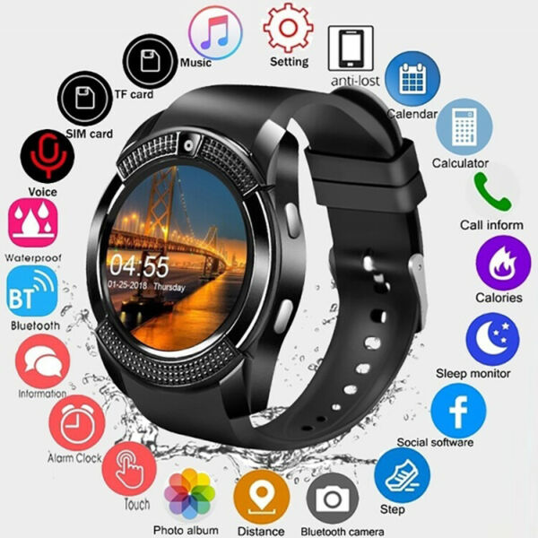 New Waterproof Bluetooth Smart Watch Phone Mate For iOS Android Samsung iPhone $19.45
