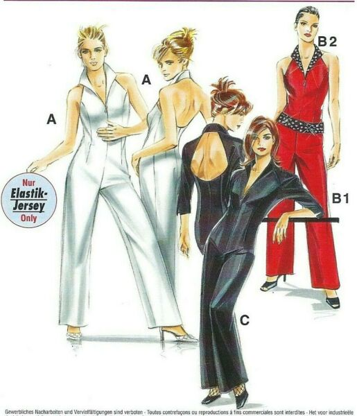 Neue Mode 22930 Sexy Zip Front Catsuit w Open Back Popped Collar Sz 8 16 UNCUT