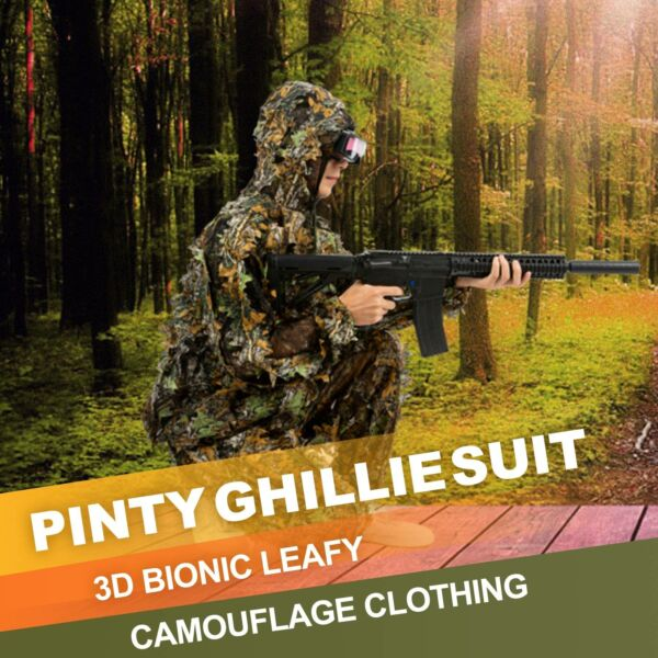 Jungle Ghillie Suit Leafy Hunting Jacket Pants for Games Airsoft Sniper w Zipper