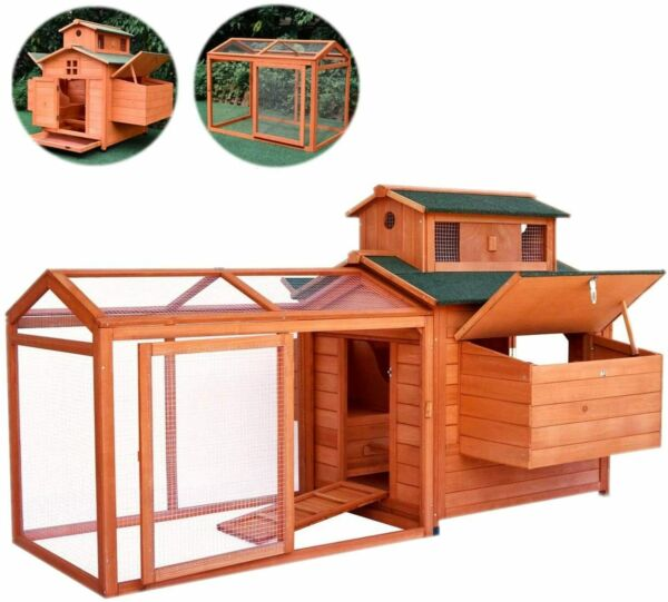 70'' Large Wood Poultry Chicken Coop Hen House Hutch Backyard Run Nesting Box
