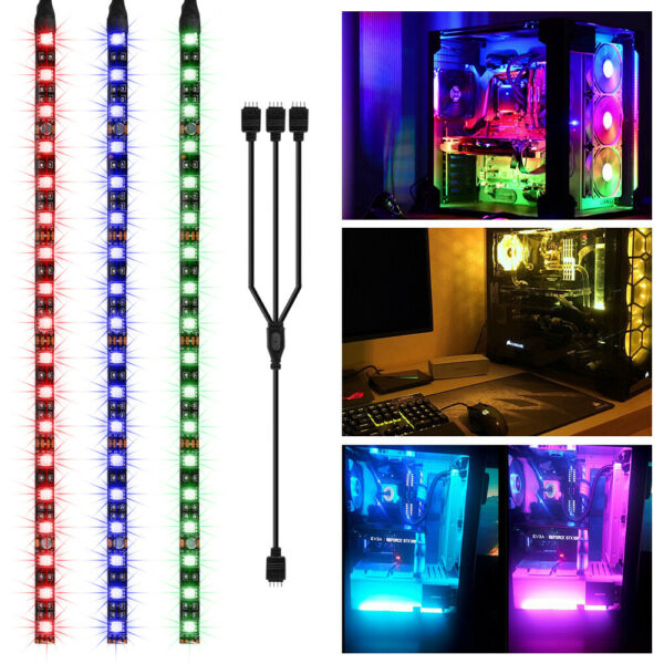 3x RGB Gaming LED PC Case Strip Light Lighting with Magnet for Aura Sync LD1970