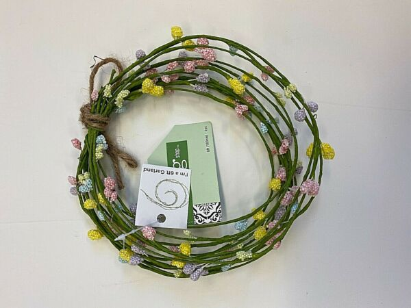6 ft. Floral garland – green wrapped wire small flowers spring decor
