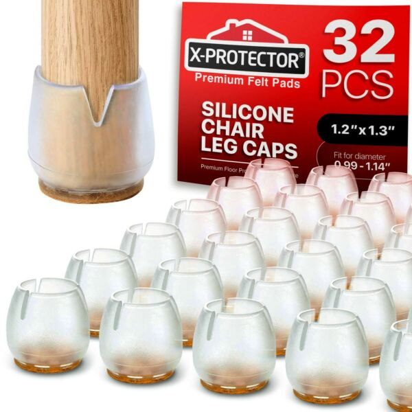 Chair Leg Caps by X PROTECTOR Silicone Floor Protectors 32pcs