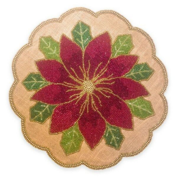 Glass Beaded Poinsettia Jute Burlap Placemats 15quot; set of 4 Christmas Holiday