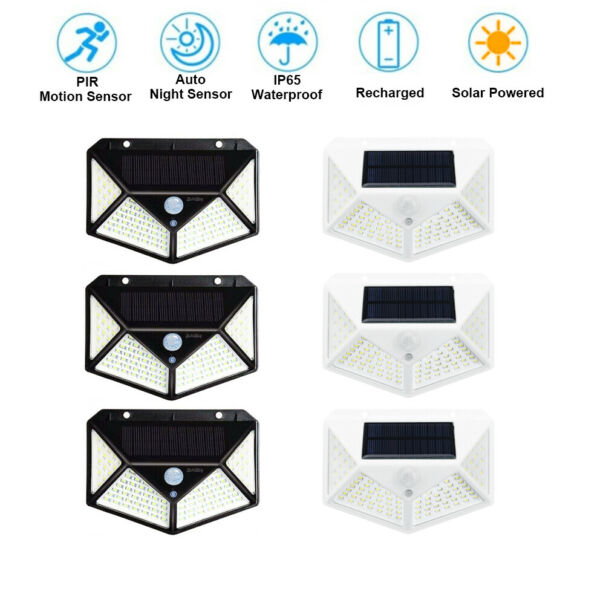 100 LED Waterproof Solar Power PIR Motion Sensor Wall Light Outdoor Garden Lamp $25.99