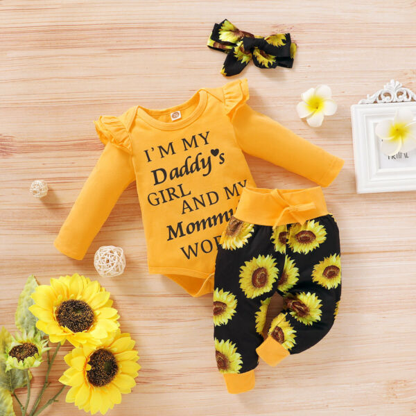 Newborn Baby Girl Clothes Letter Romper Jumpsuit TopsPants Headband Outfit Set