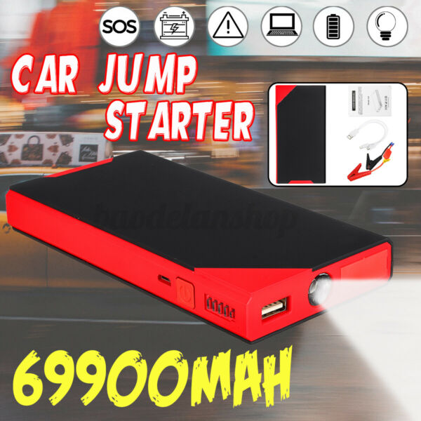 69900mAh 12V Portable Car Jump Starter Power Bank Booster Clamp USB Charger 300A $37.99