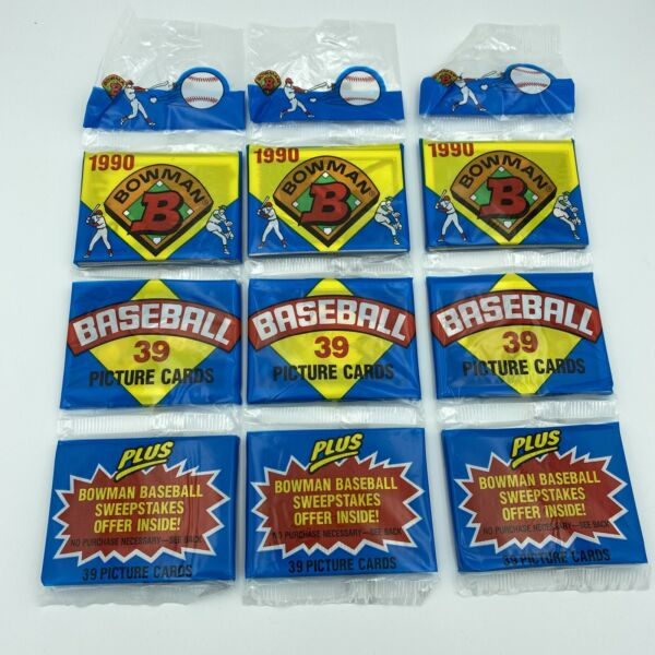New 1990 Bowman Baseball Lot of 3 Rack Packs 117 Cards Total Sealed Unopened $6.99