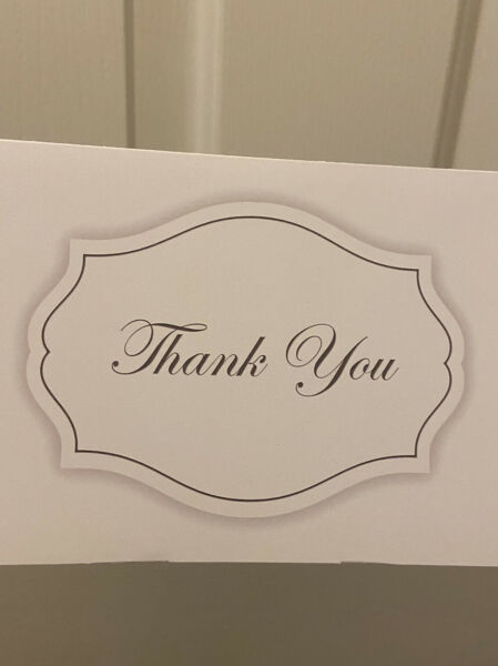 50 Blank Thank You Cards: Bulk Wedding Party. Envelopes Included