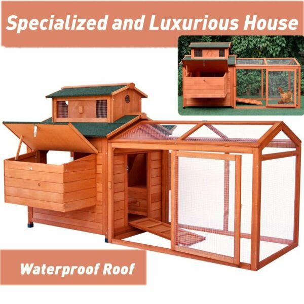 70#x27;#x27; Large Wood Poultry Chicken Coop Hen Animal House Hutch Run Nesting Box US