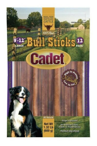 "New Cadet Bull Sticks 1 Bag Of 12x12"" Long Treats Long Lasting Free Shipping"