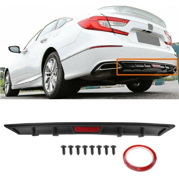 FIT FOR 2018 2020 HONDA ACCORD 10TH GEN SPORT JDM BLACK REAR BUMPER DIFFUSER LIP