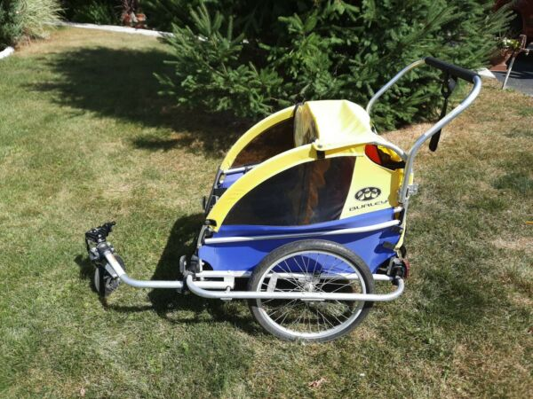 Burley D#x27;lite Double Seat Bike Trailer for Kids Yellow LOCAL PICKUP ONLY $199.95