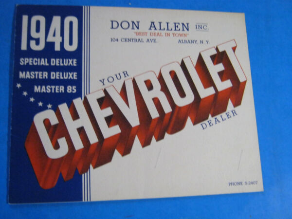 1940 CHEVROLET CHEVY ALBANY NY ALLEN DELUXE 85 MASTER 14 PAGE BROCHURE ORIGINAL $35.00