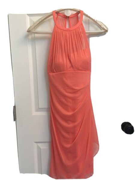 Davids Bridal bridesmaid Prom Cocktail Dress Size 4 Peach