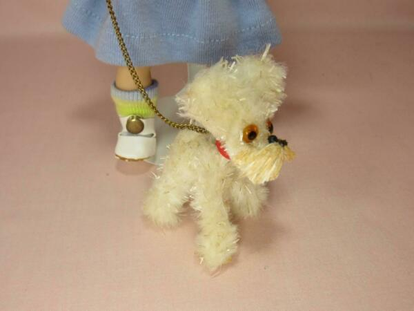 *Miniature Dog for Ginny Muffy Ginger Alexander Kins Chenille w Leash Cute $24.98