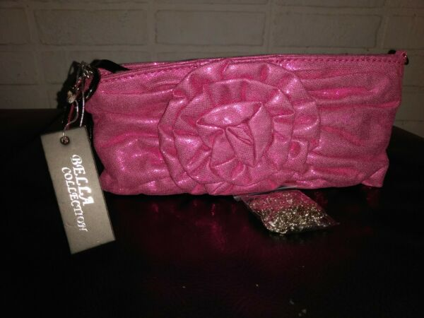 Bella Collection Clutch Purse with bangle handle and chain shoulder strap