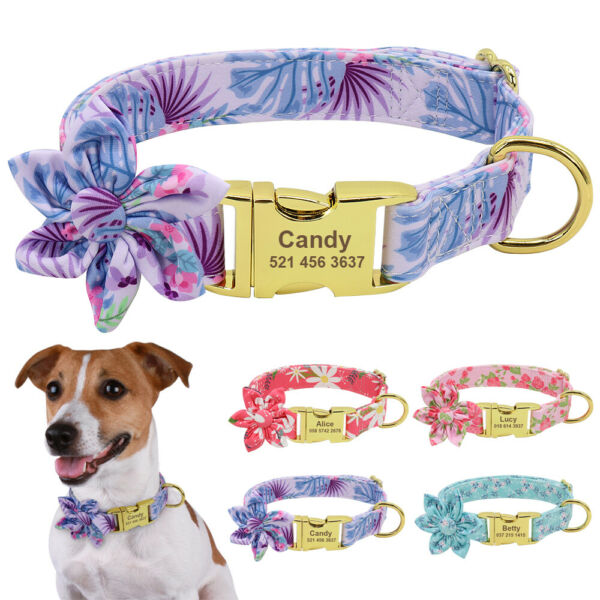 Flower Dog Personalized Collar With Name Plate Customized Adjustable Gold Buckle $10.99