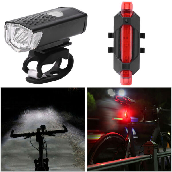 Rechargeable Mountain Bike Lights Bicycle Headlight Torch Front amp; Rear Lamp Set $9.97