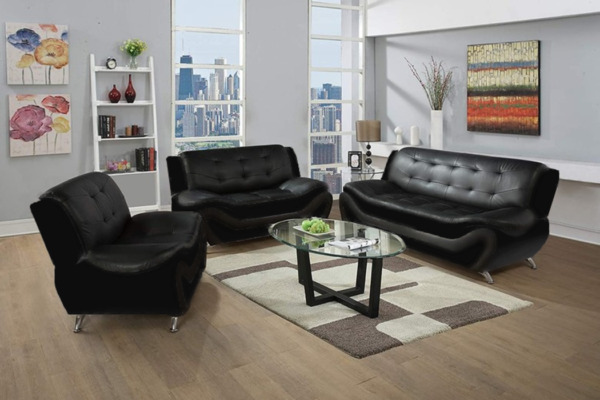 NEW SLEEK Black Leather Gel 3PC Sofa Set Contemporary Modern Living Furniture $899.99