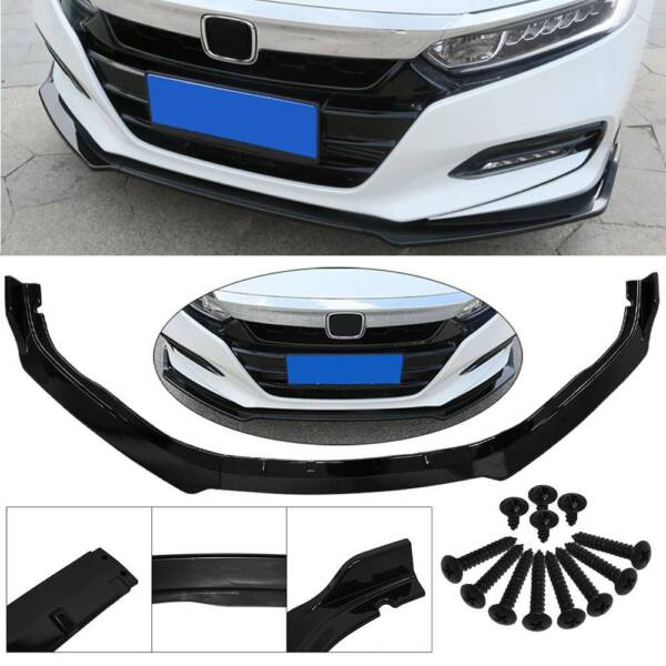 For 2018 2020 Honda Accord JDM Style Glossy Black Front Bumper Lip Splitter 3PC