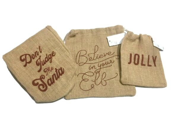 Holiday Message WineGift Bags w Drawstring Top Burlap Set of 3 New w Tags