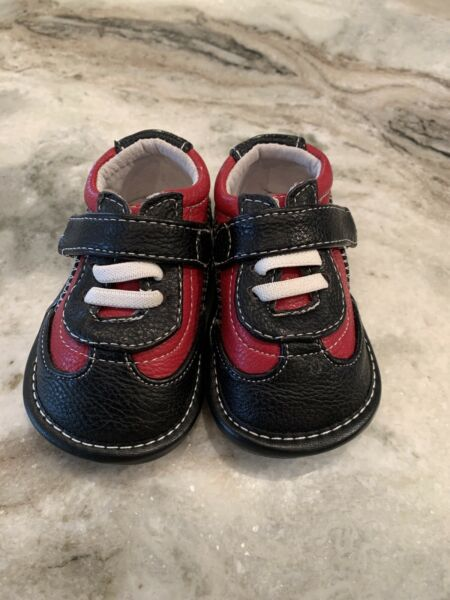 JACK amp; LILY My Mocs 0 6 Month Blue Red Tommy Leather Bootie Tennis Shoes NEW $12.50