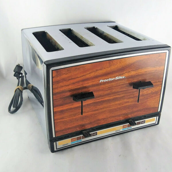 Vtg Proctor Silex 4 Slice Toaster Stainless Chrome Wood Grain Made In USA WORKS