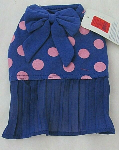 Top Paw XS Dog Dress Purple Pink Polka Dots Pleated Skirt Bow NWT Stretchy Cute $8.25