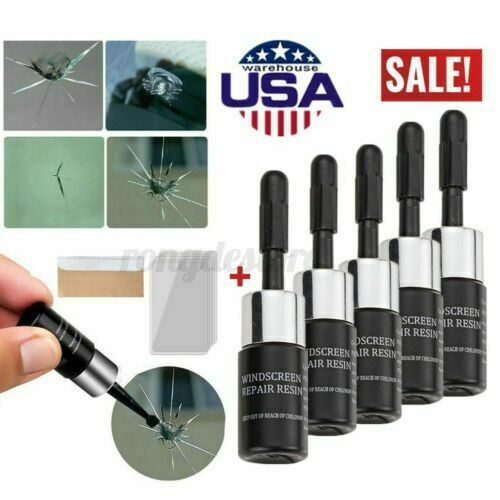 5PC Automotive Glass Nano Repair Fluid Car Windshield Windscreen Chip Crack Tool