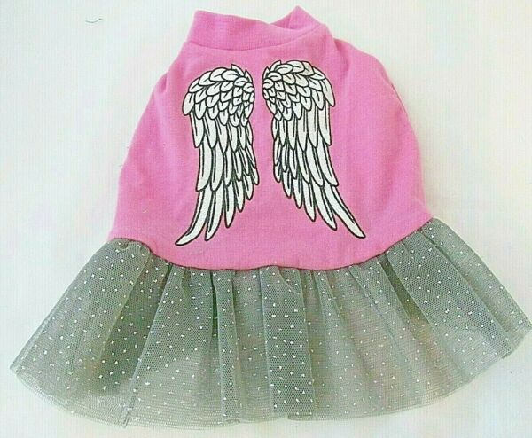 Top Paw Size Small Dog Pink Gray Dress Silver Wings Sparkle Tulle Skirt NWT Cute $8.25