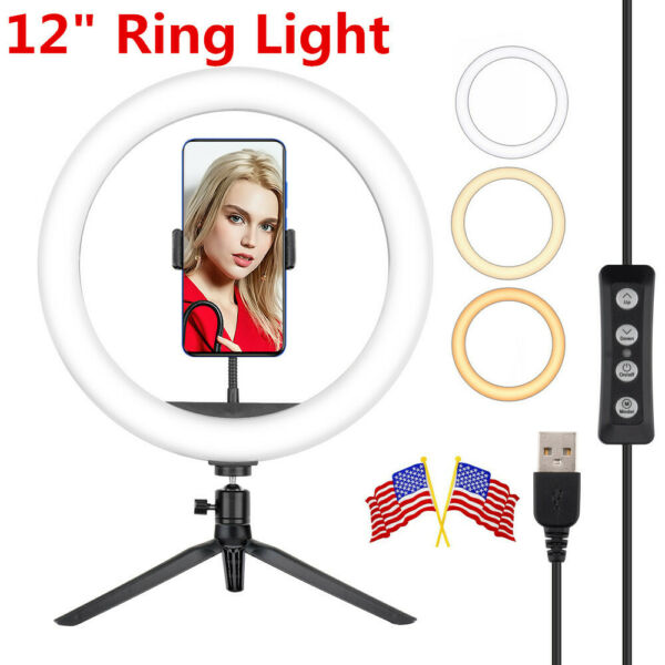 12quot; Selfie LED Ring Light Kit With Non slip Tripod Stand For Makeup Stream Live