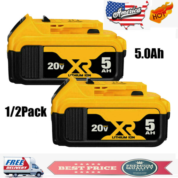1 2 Pack 20V 20 Volt MAX XR 5.0Ah Lithium Battery For DEWALT DCB206 2 DCB205 2 $29.99