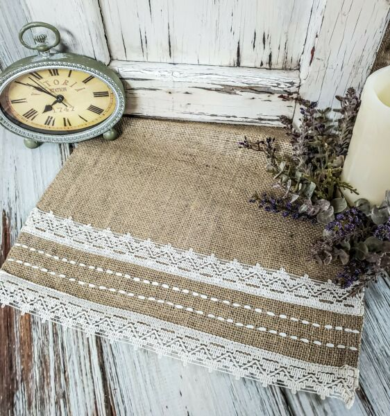 Cotton Lace amp; Stitched Burlap Table Runner Farmhouse Rustic Cottage Home Decor