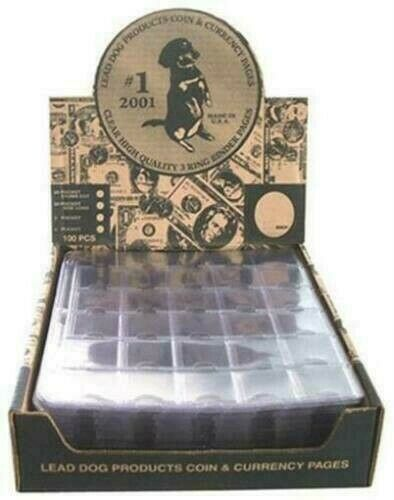 100 Pack Box Lead Dog 30 Pocket 1.5x1.5 Coin Pages Heavy Duty Storage Thumb Cut $64.99