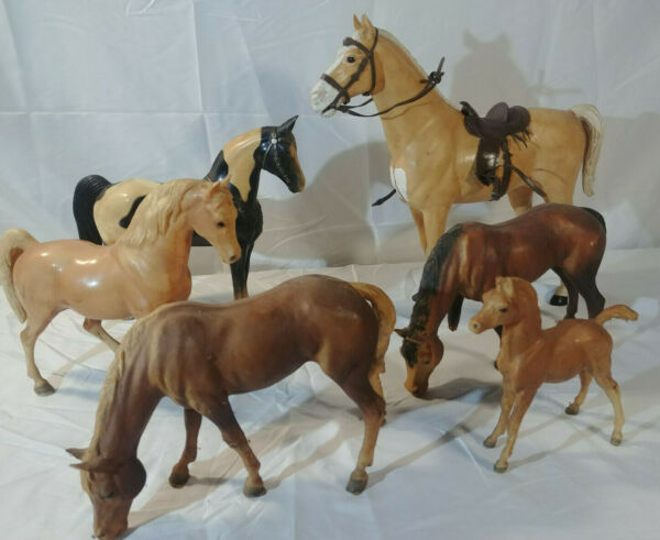 Vintage Horse Figure Lot Louis Marx 1965