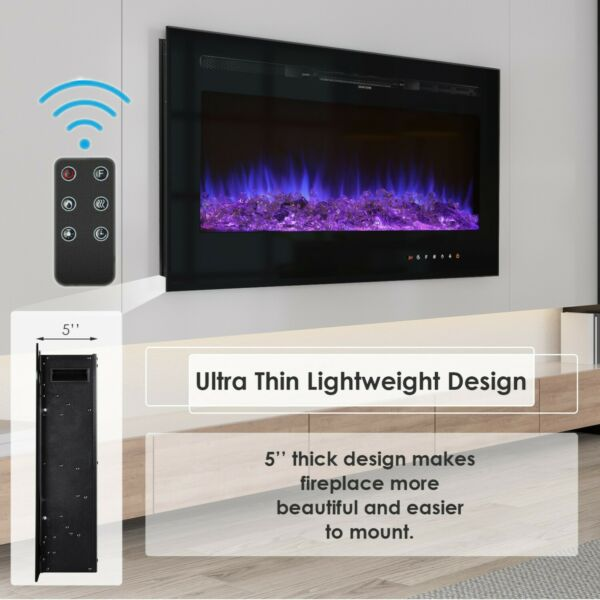 36quot;1500W Fireplace Electric Embedded Insert Heater Glass Log Flame Remote Contrl