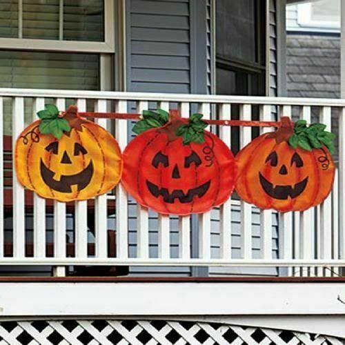 Pumpkin Bunting Halloween Decor Outdoor Porch Yard Party Fence Prop NEW