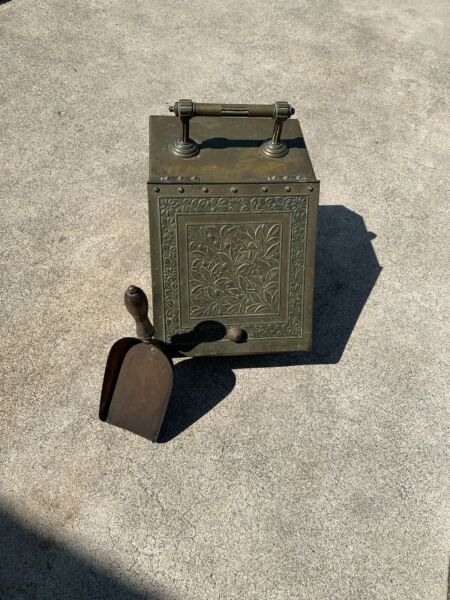 Antique Vintage Brass Victorian Coal Hod Scuttle Embossed Fireplace Hearth