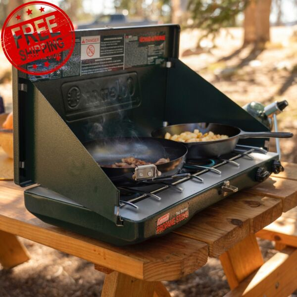 CAMP STOVE PROPANE 2 Burner Outdoor Camping Adjustable Portable Cooking Gas NEW