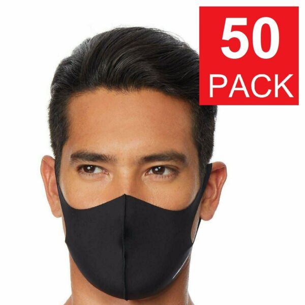50 Pack Black Face Mask Breathable Washable Soft Cloth Fabric WHOLESALE