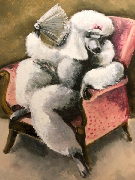 Art print large poodle dog quot;Queen Isabellaquot; seated in chair Amber Alexie 2011 $49.99