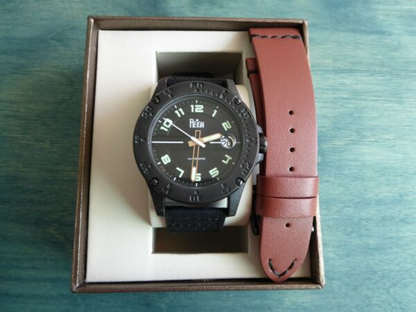 Reign Emery Carbon Resin 40 mm Case Automatic w Ritche Nylon Brown Leather $125.00